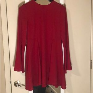 Re:named Red bell sleeve dress